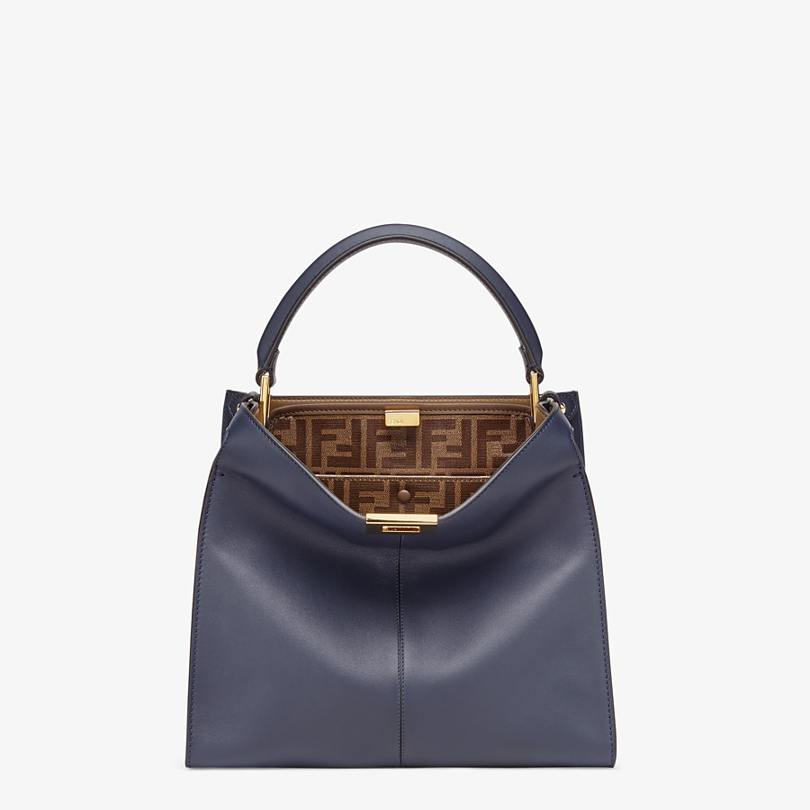 FENDI PEEKABOO X-LITE MEDIUM - Tasche aus Leder in Blau - view 2 detail