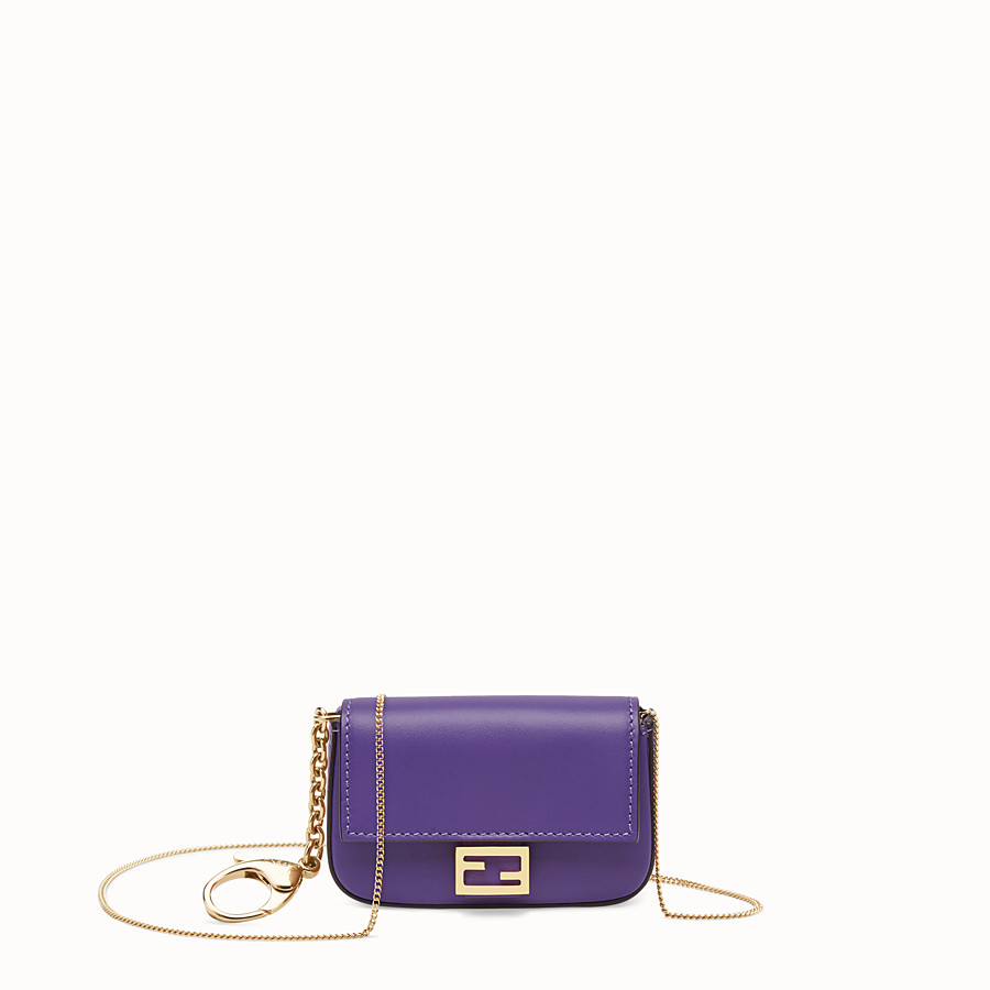 FENDI NANO BAGUETTE CHARM - Purple leather charm - view 1 detail