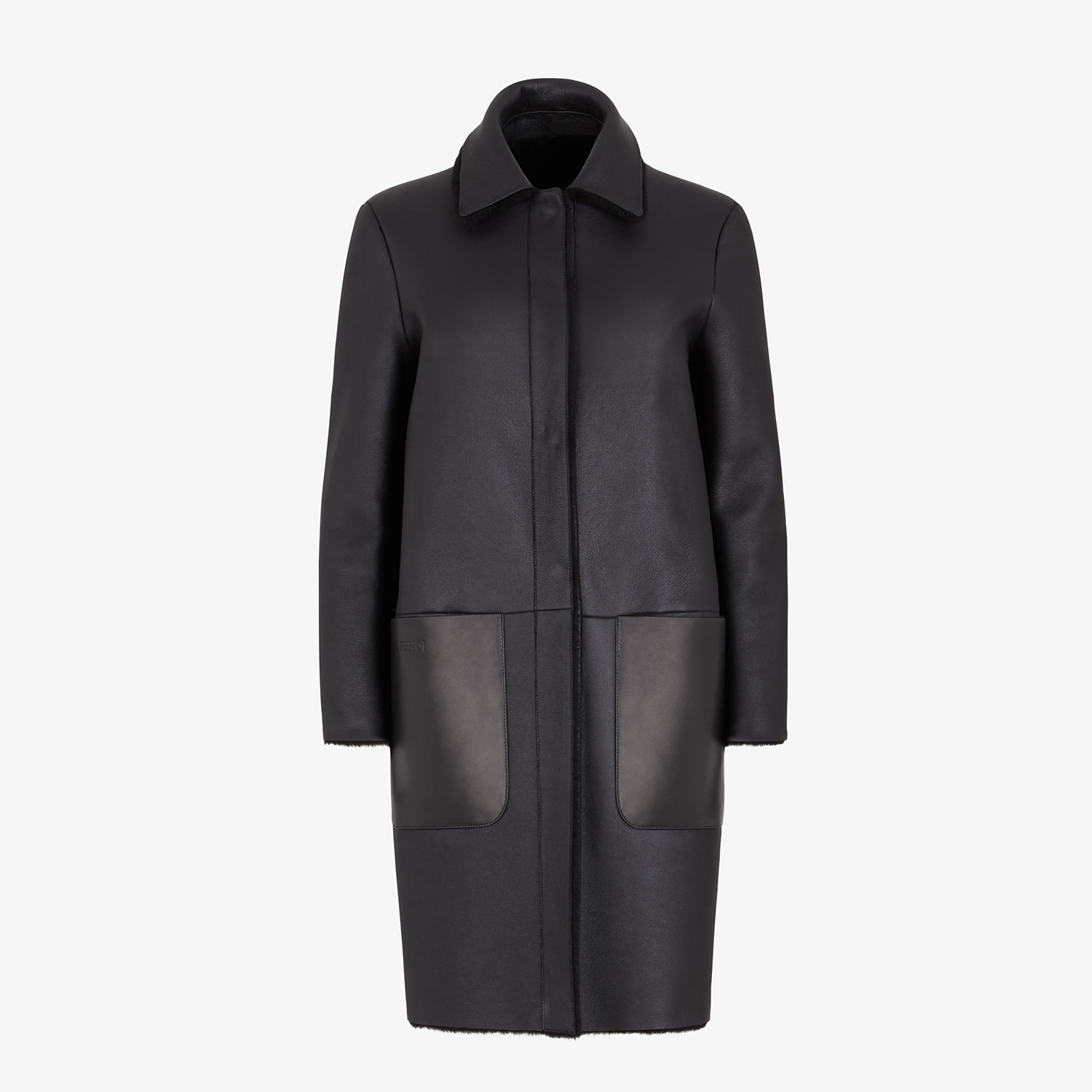 FENDI COAT - Black shearling coat - view 4 detail