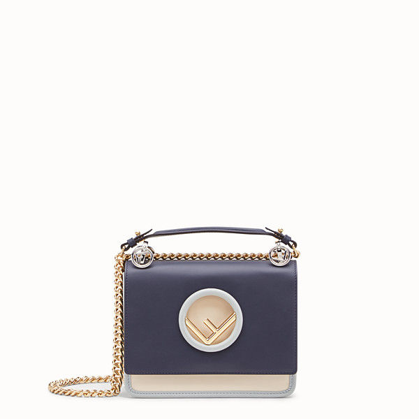 FENDI KAN I LOGO SMALL - Blue leather mini-bag - view 1 small thumbnail