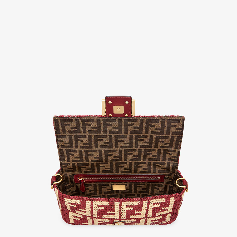 FENDI BAGUETTE - Burgundy raffia FF bag - view 5 detail