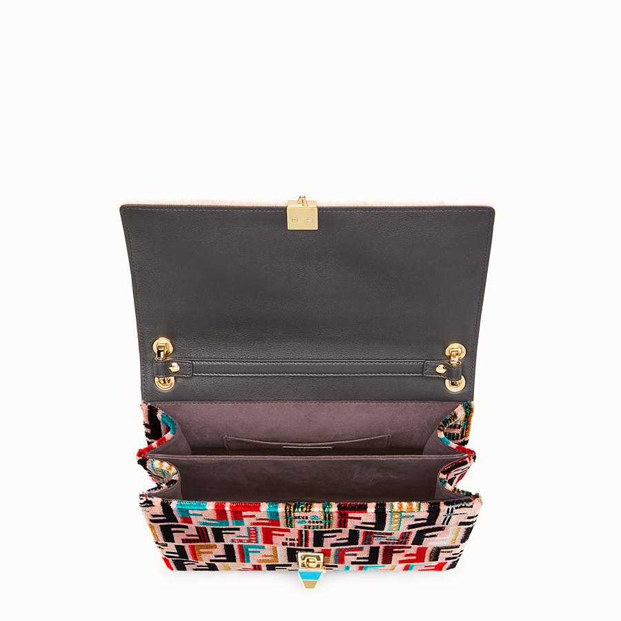 FENDI KAN I - Red leather and silk bag - view 4 detail