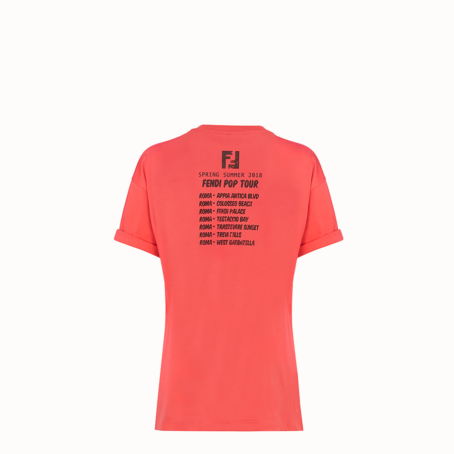 FENDI T-SHIRT - Red cotton T-shirt - view 4 detail