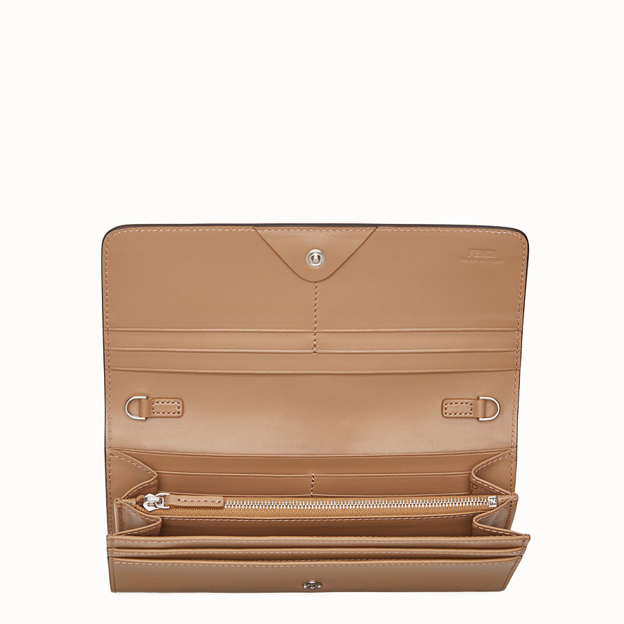 FENDI CONTINENTAL WITH CHAIN - Studded mini bag in sand-colour leather - view 4 detail