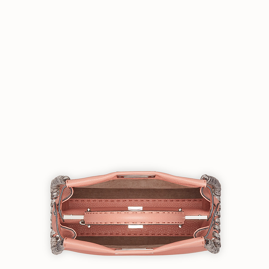 FENDI PEEKABOO REGULAR - Pink leather bag with exotic details - view 4 detail