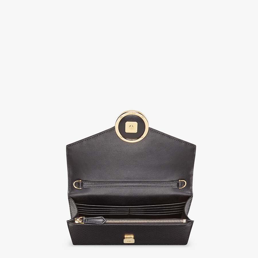 FENDI WALLET ON CHAIN - Black leather mini bag - view 5 detail