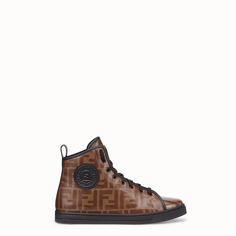 FENDI SNEAKERS - Multicolour fabric high-tops - view 1 detail