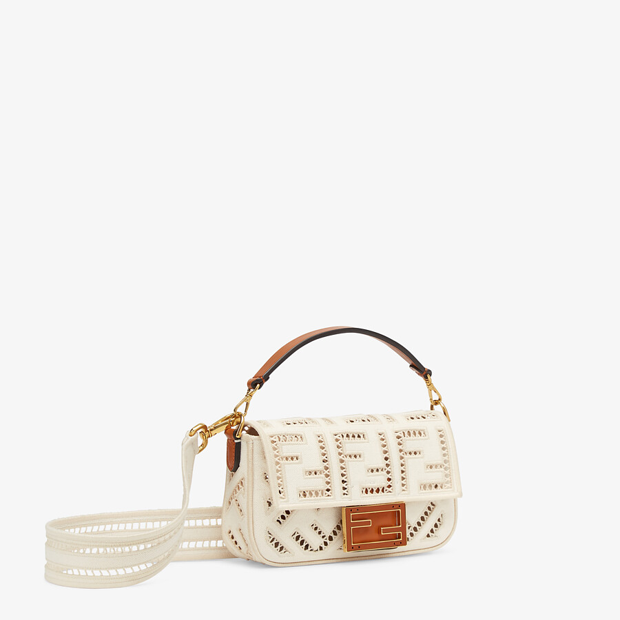 FENDI BAGUETTE MINI - White canvas bag with embroidery - view 2 detail
