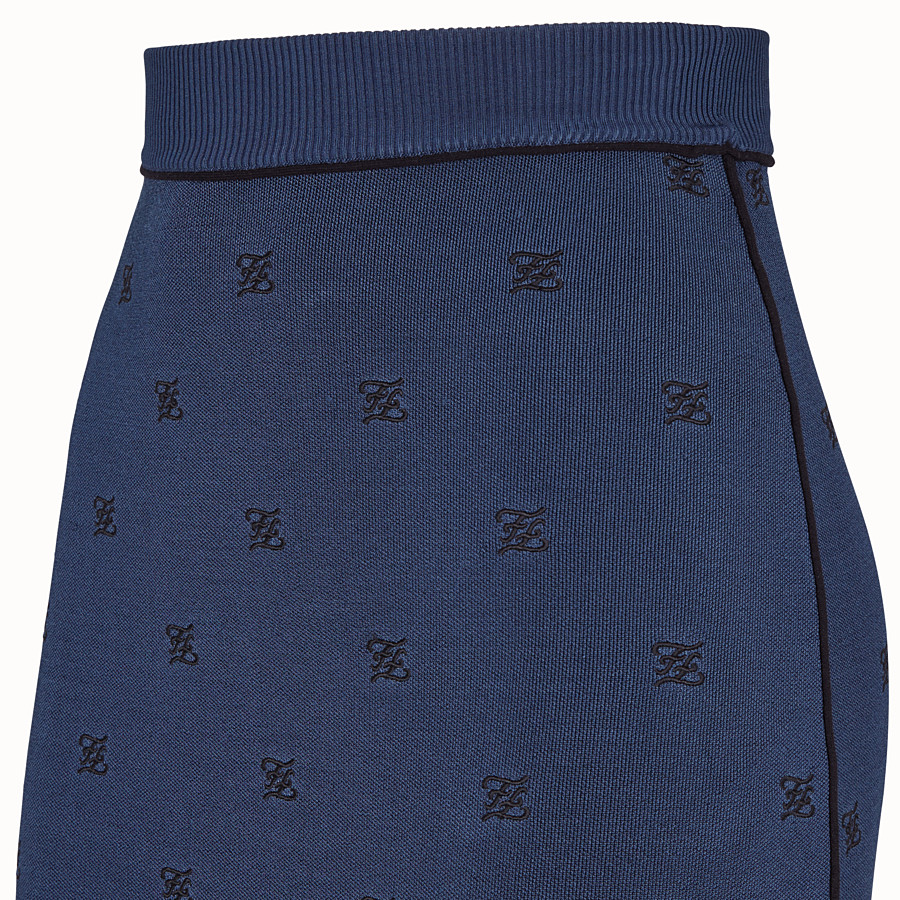 FENDI SKIRT - Blue viscose skirt - view 3 detail