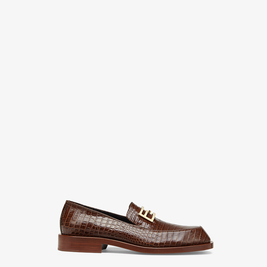 FENDI LOAFERS - Brown leather loafers - view 1 detail
