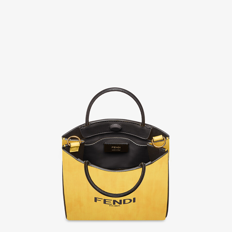 FENDI FENDI PACK SMALL SHOPPING BAG - Yellow leather bag - view 4 detail