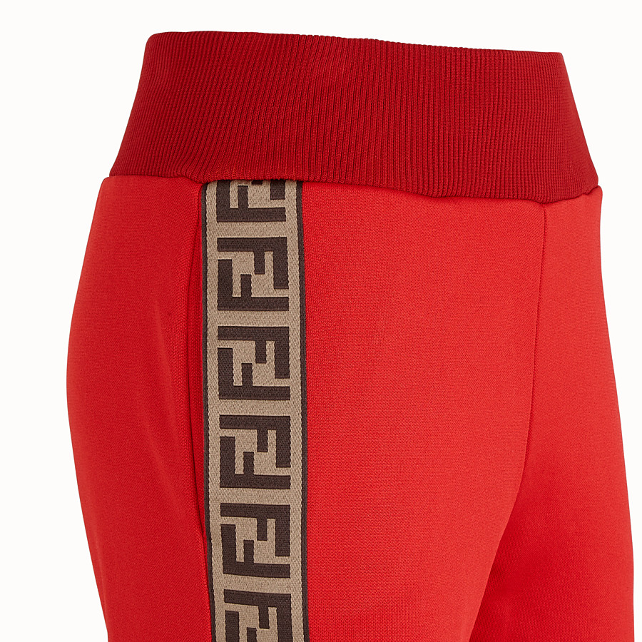 FENDI TROUSERS - Red jersey jogging trousers - view 3 detail