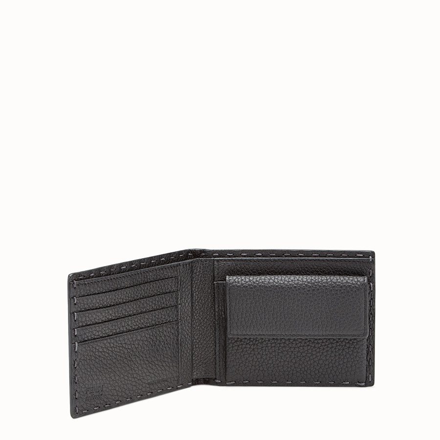 FENDI WALLET - Light grey leather bi-fold Selleria wallet - view 3 detail