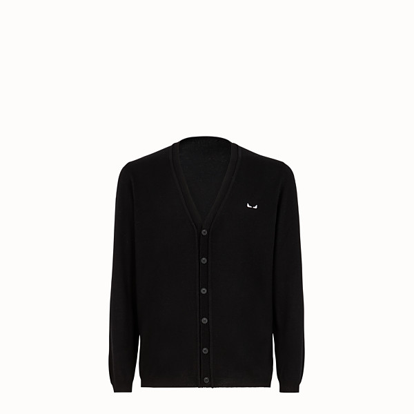 FENDI CARDIGAN - Black wool cardigan - view 1 small thumbnail