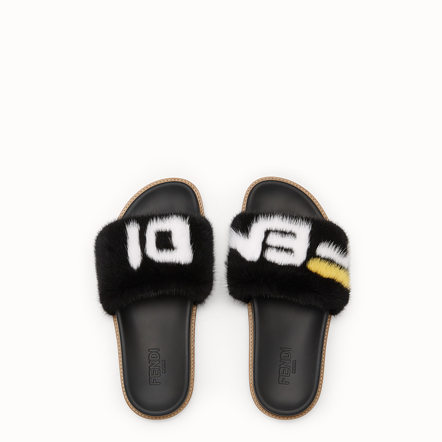 FENDI SLIDES - Multicoloured mink Fussbet sandals. - view 4 detail
