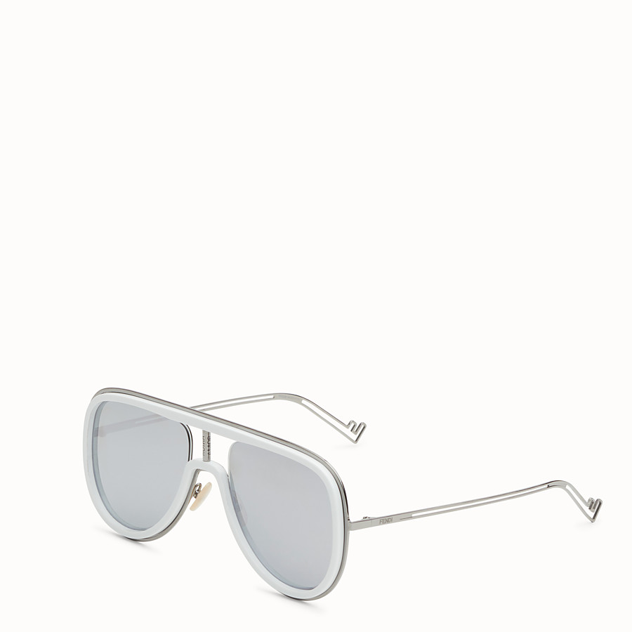 FENDI FUTURISTIC FENDI - White and ruthenium sunglasses - view 2 detail
