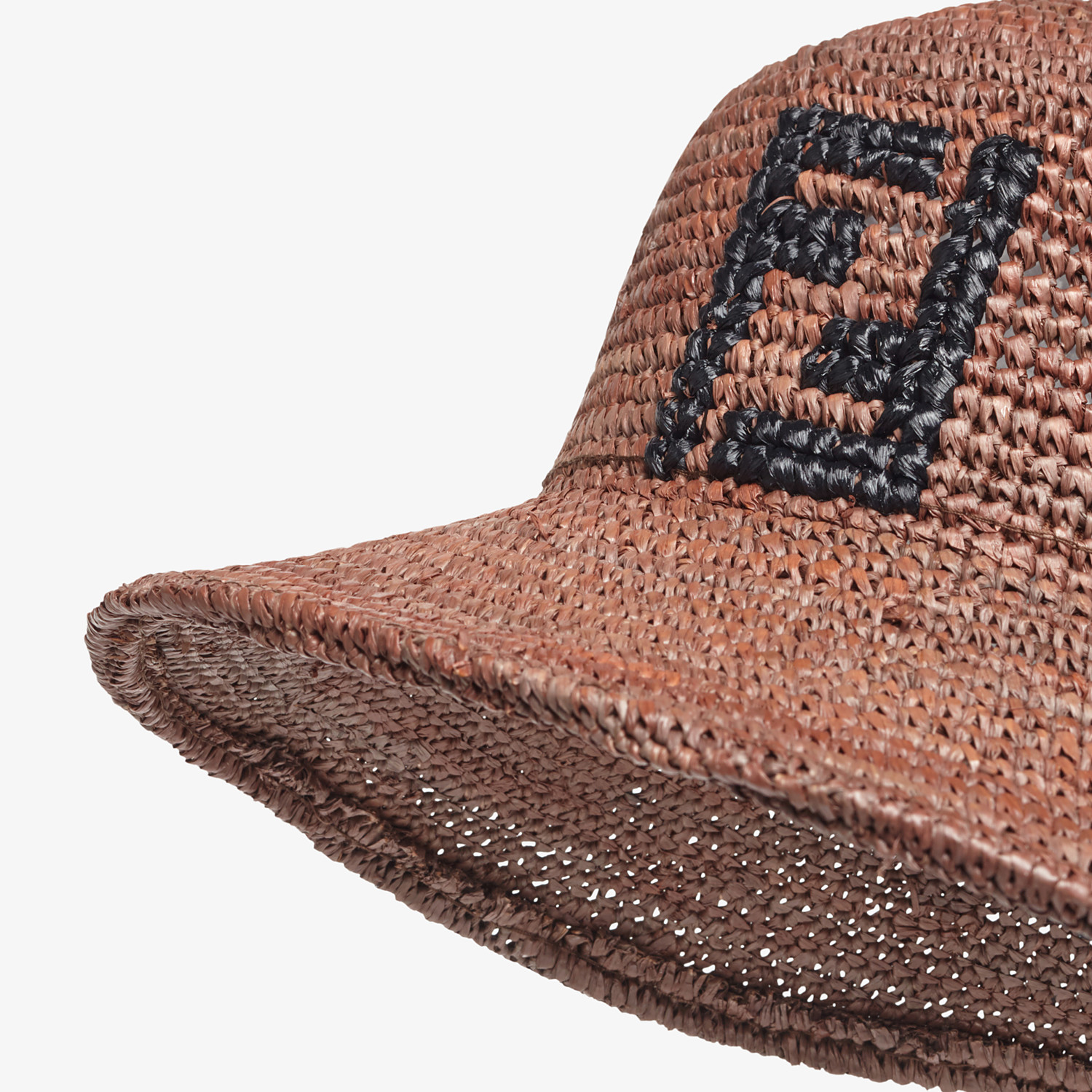 FENDI HAT - Brown raffia bucket hat - view 2 detail