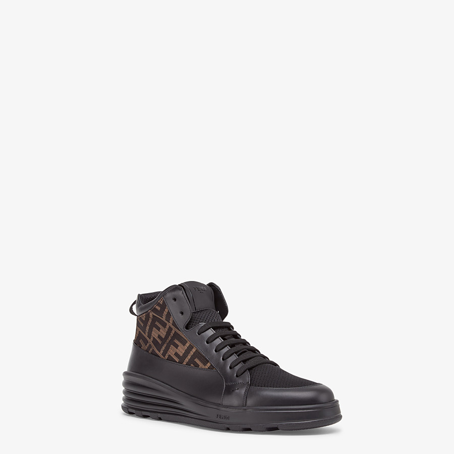 FENDI SNEAKERS - Black leather mid-top - view 2 detail