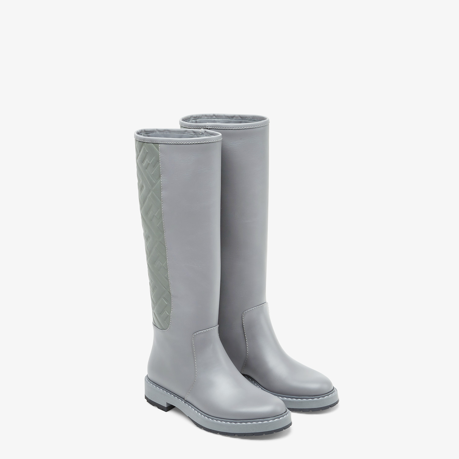 FENDI BOOTS - Grey leather boots - view 4 detail