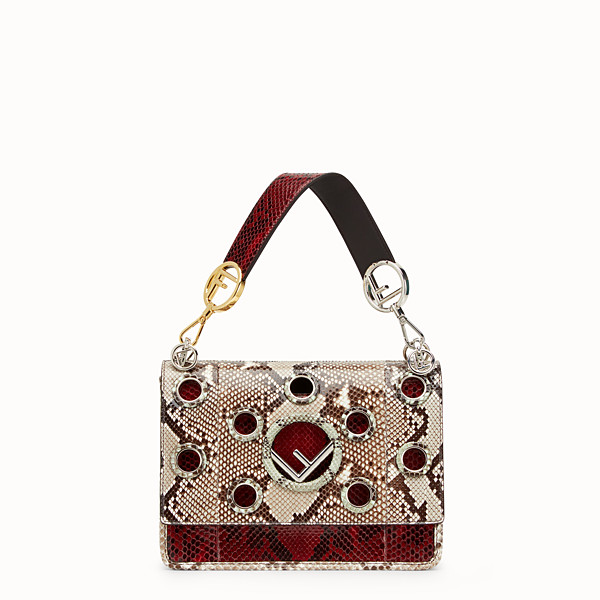 FENDI KAN I F - White and dark red python bag - view 1 small thumbnail