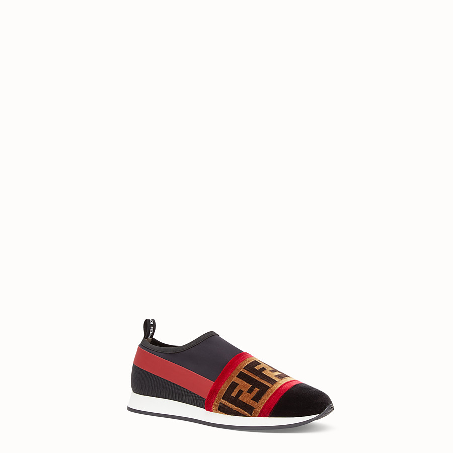 FENDI SNEAKERS - Black tech fabric slip-ons - view 2 detail