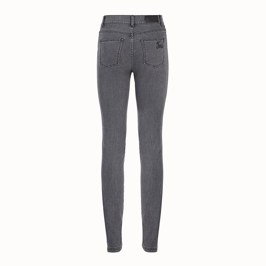 FENDI TROUSERS - Grey denim trousers - view 2 detail