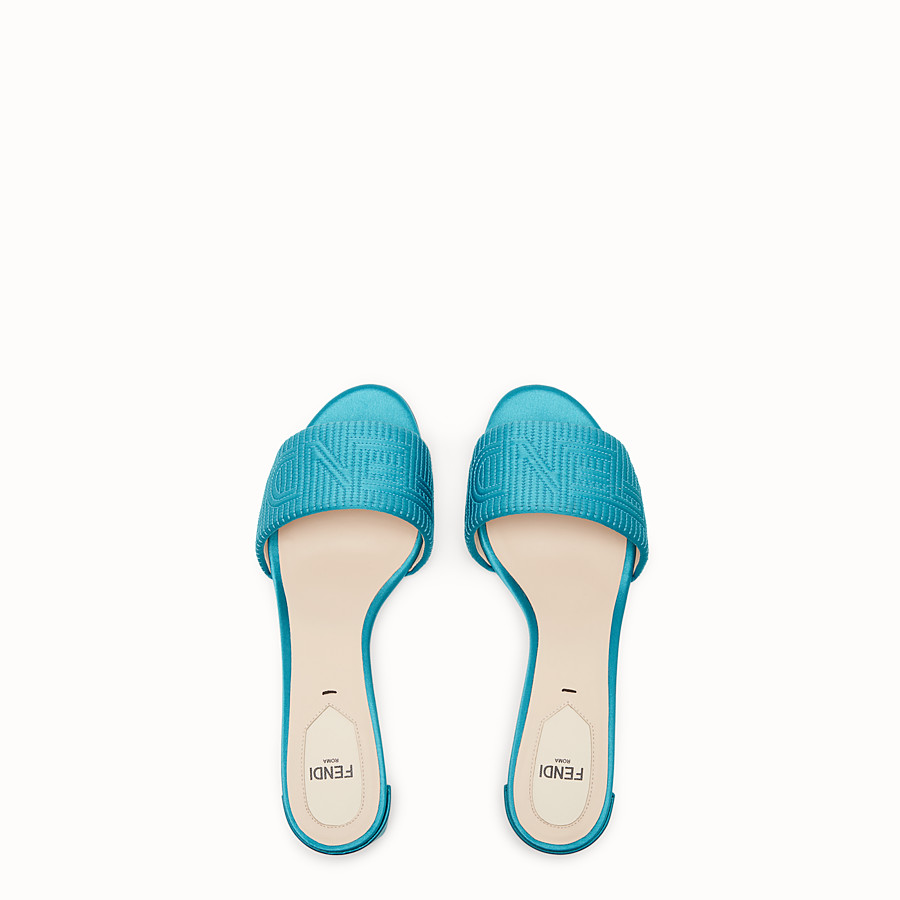 FENDI SABOTS - Turquoise satin sandals - view 4 detail