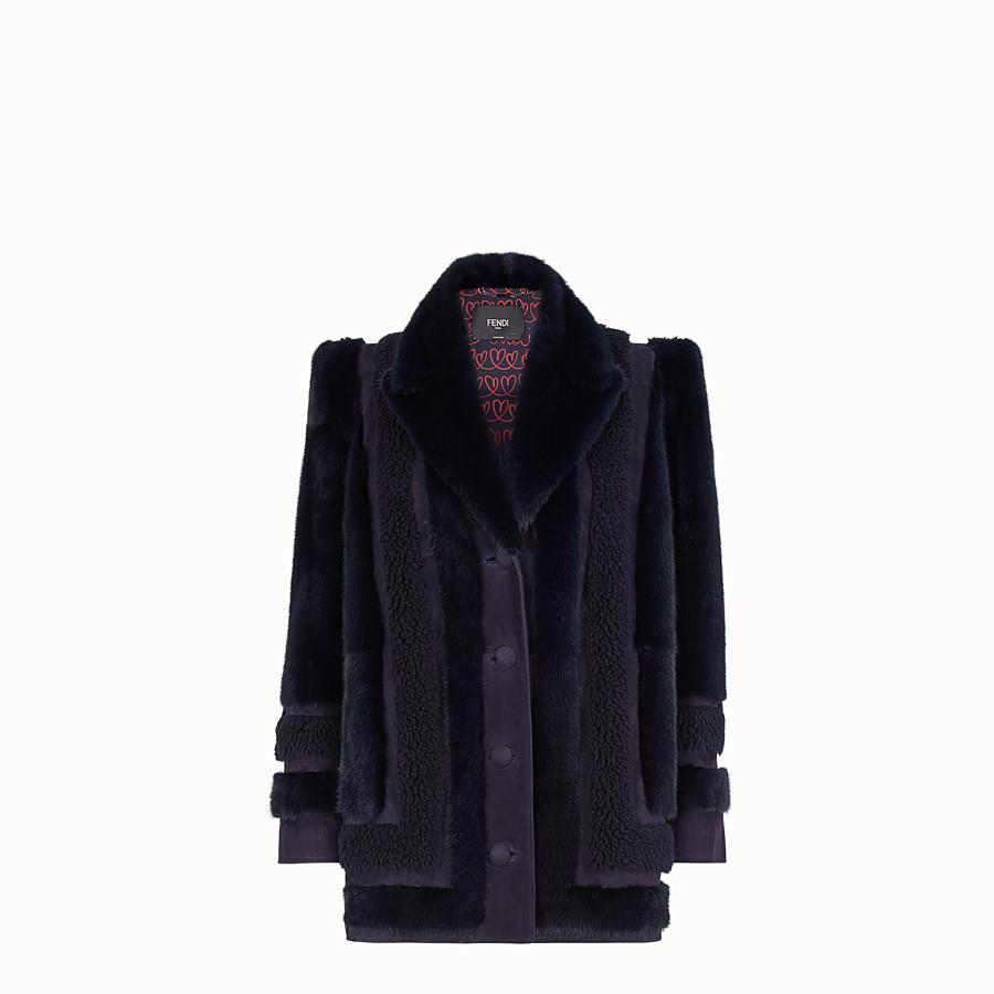 FENDI COAT - Blue fur coat - view 1 detail