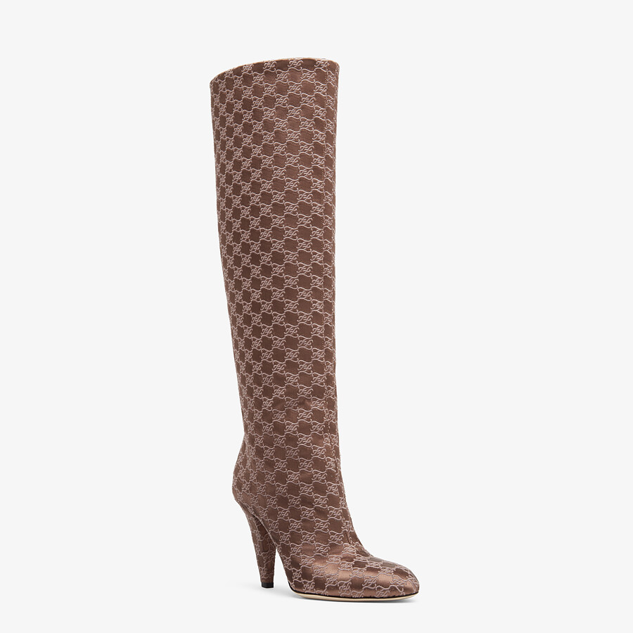 FENDI KARLIGRAPHY - High-heeled boots in brown fabric - view 2 detail