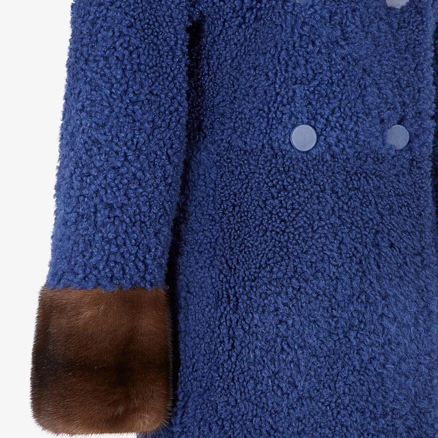 FENDI COAT - Blue shearling coat - view 3 detail