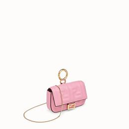 FENDI NANO BAGUETTE CHARM - Charm in pink nappa leather - view 3 thumbnail