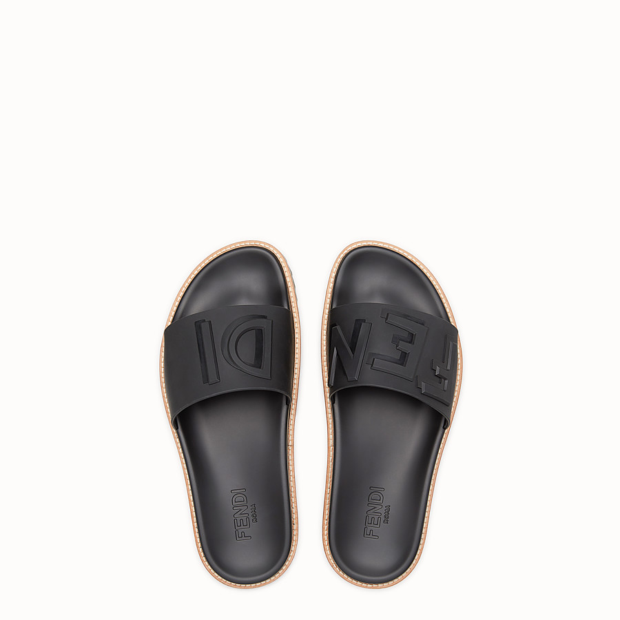 FENDI SLIDES - Black rubber slides - view 4 detail