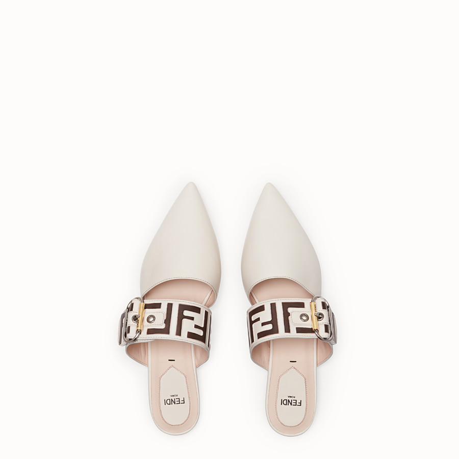 FENDI SABOT - White leather sabot - view 4 detail