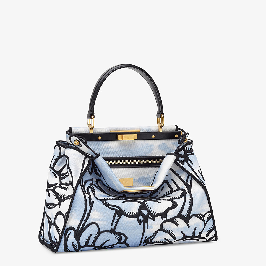 FENDI PEEKABOO ICONIC MEDIUM - Light blue denim and floral embroidery bag - view 3 detail