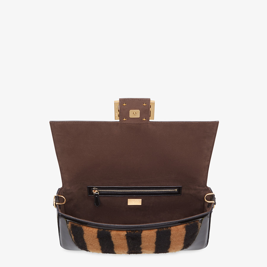 FENDI BAGUETTE LARGE - Multicolour, patent leather and sheepskin bag - view 5 detail