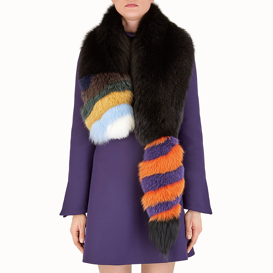 FENDI HYPNOTIC COLLAR - in inlaid black fox fur - view 3 detail