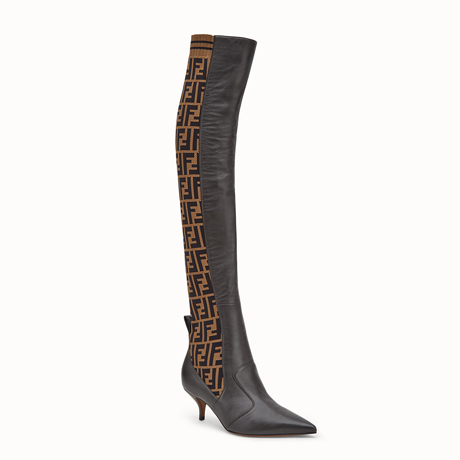 FENDI BOOTS - Brown leather thigh-high boots - view 2 detail