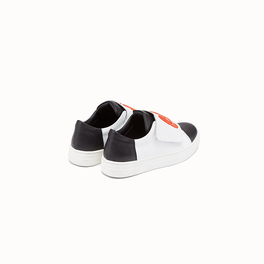 FENDI GIRL SNEAKERS - Black and white leather sneakers - view 3 detail