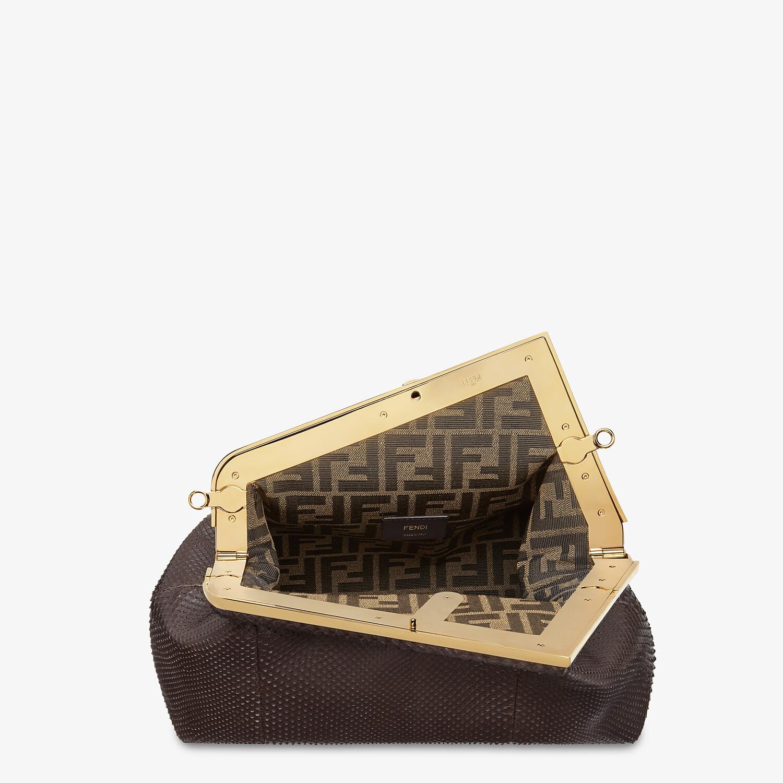 FENDI FENDI FIRST MEDIUM - Dark brown python leather bag - view 4 detail