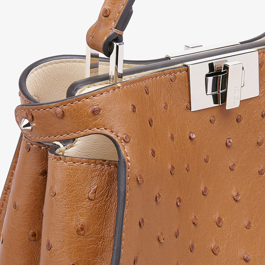 FENDI PEEKABOO ICONIC ESSENTIALLY - Brown ostrich bag - view 5 detail