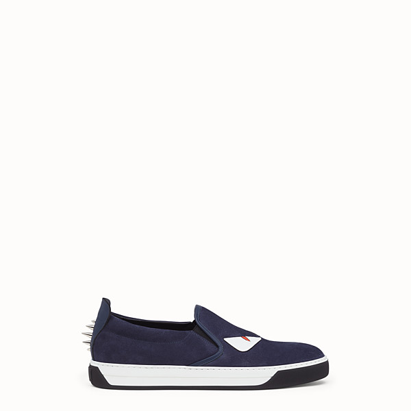 FENDI SNEAKER - slip on in pelle blu cosmos - vista 1 thumbnail piccola