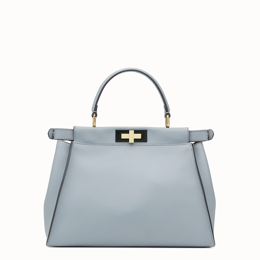 FENDI PEEKABOO REGULAR - slate-grey leather handbag - view 3 detail