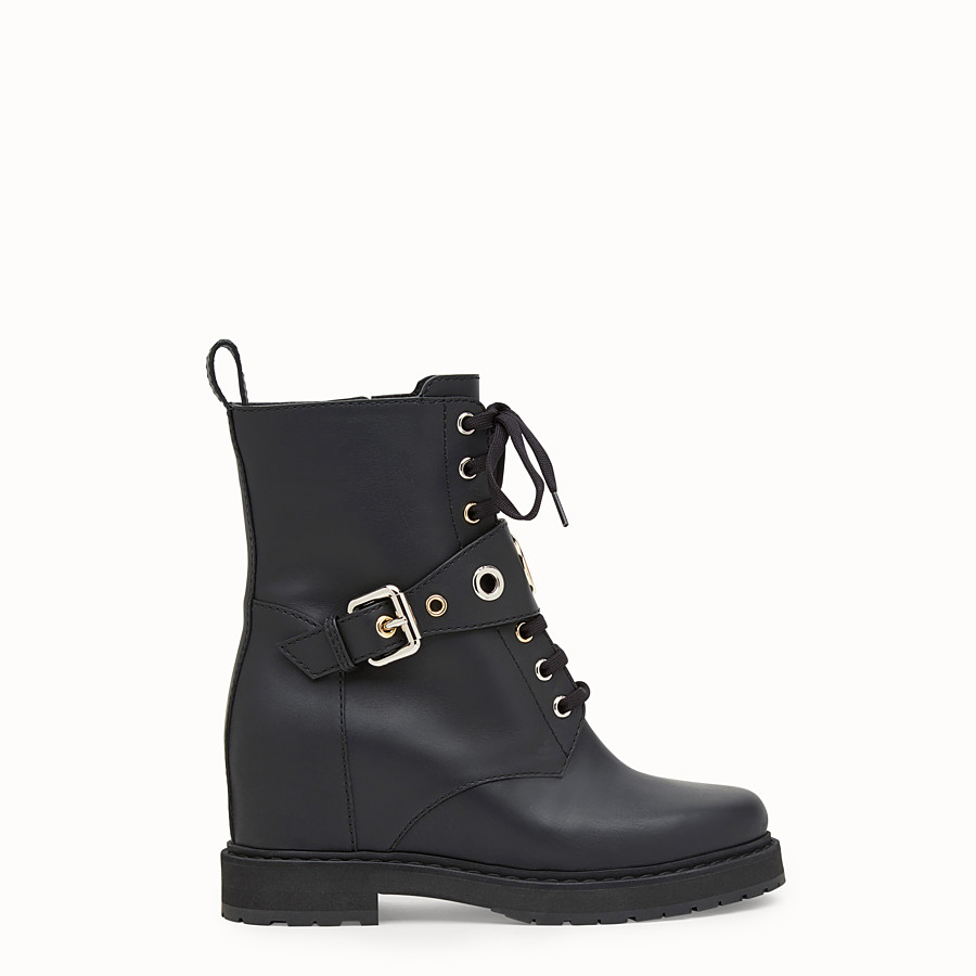 FENDI 靴子 - 黑色皮革騎士靴 - view 1 detail