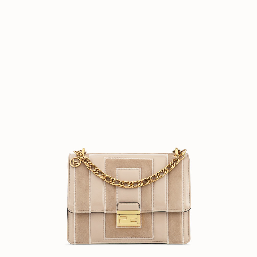 FENDI KAN U - Beige suede and leather bag - view 1 detail