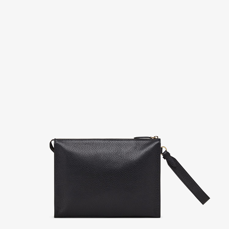 FENDI FLAT POUCH - Black leather pouch - view 3 detail