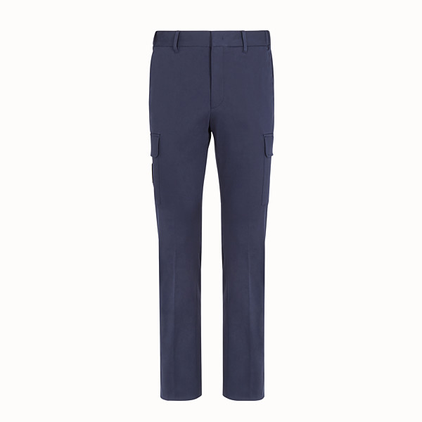 FENDI TROUSERS - Blue gabardine trousers - view 1 small thumbnail