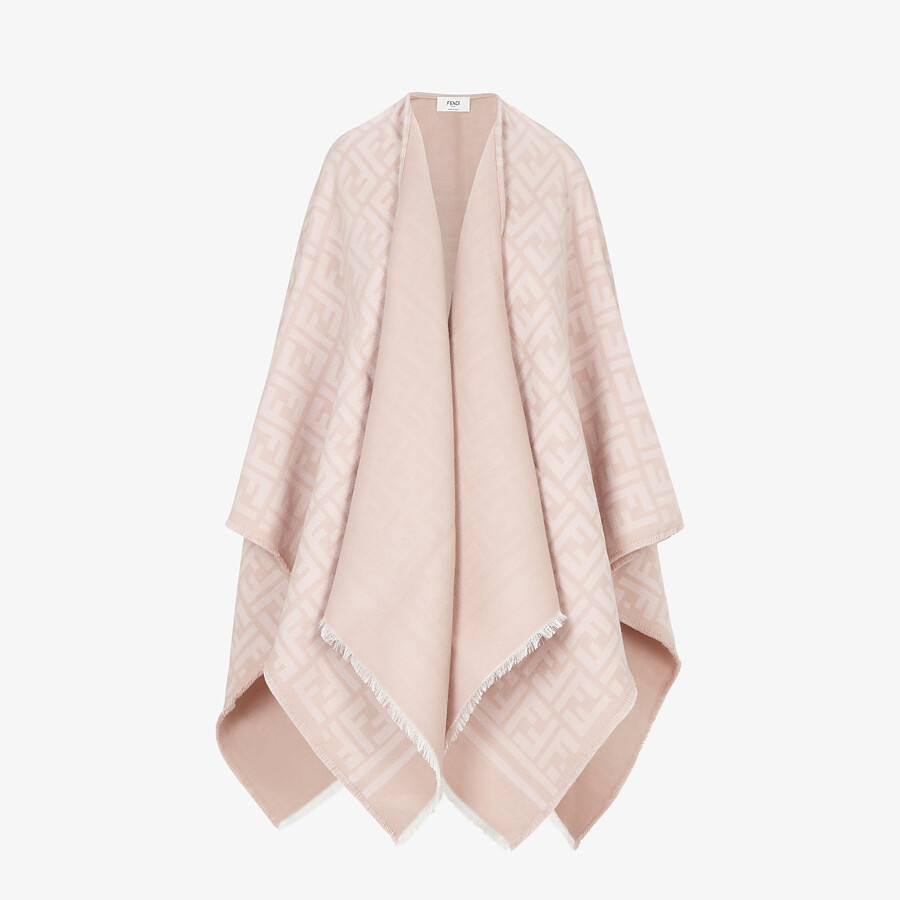 FENDI PONCHO - Poncho in pink wool and silk - view 1 detail