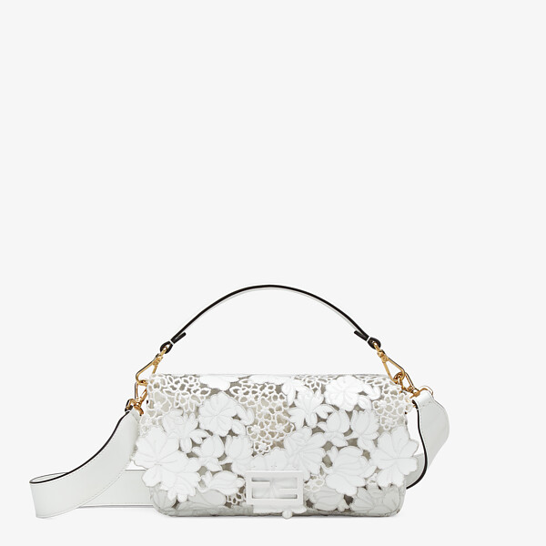Embroidered white patent leather bag