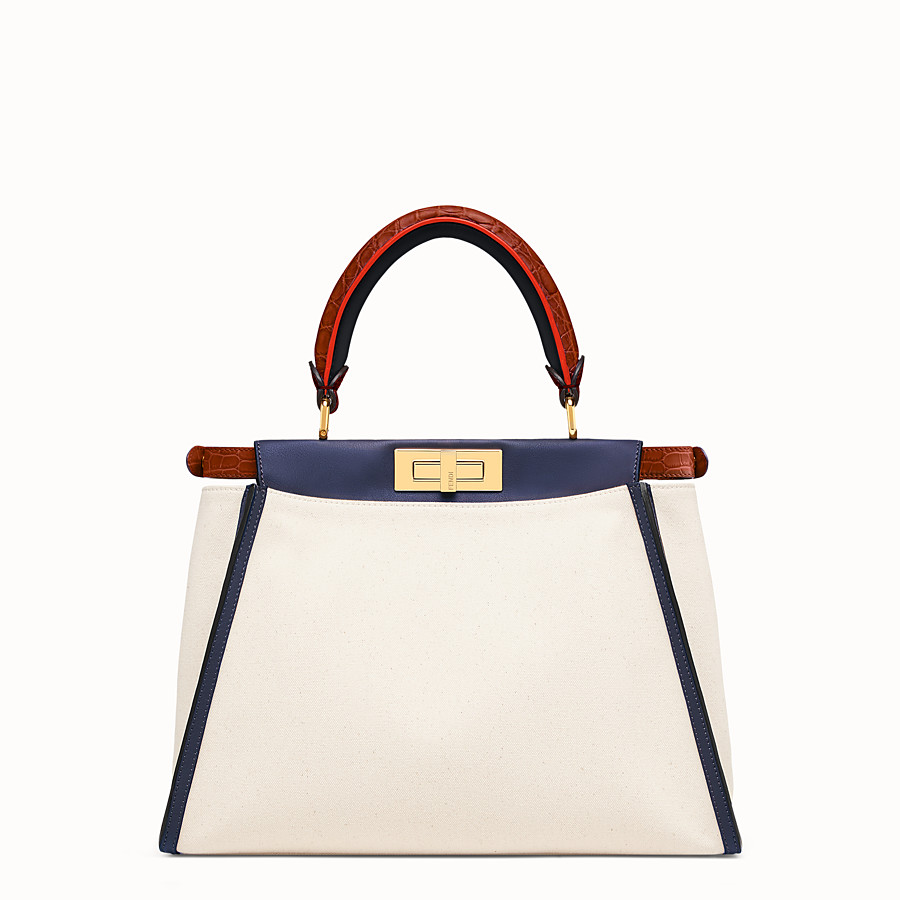 FENDI PEEKABOO REGULAR - White canvas bag with exotic details - view 3 detail