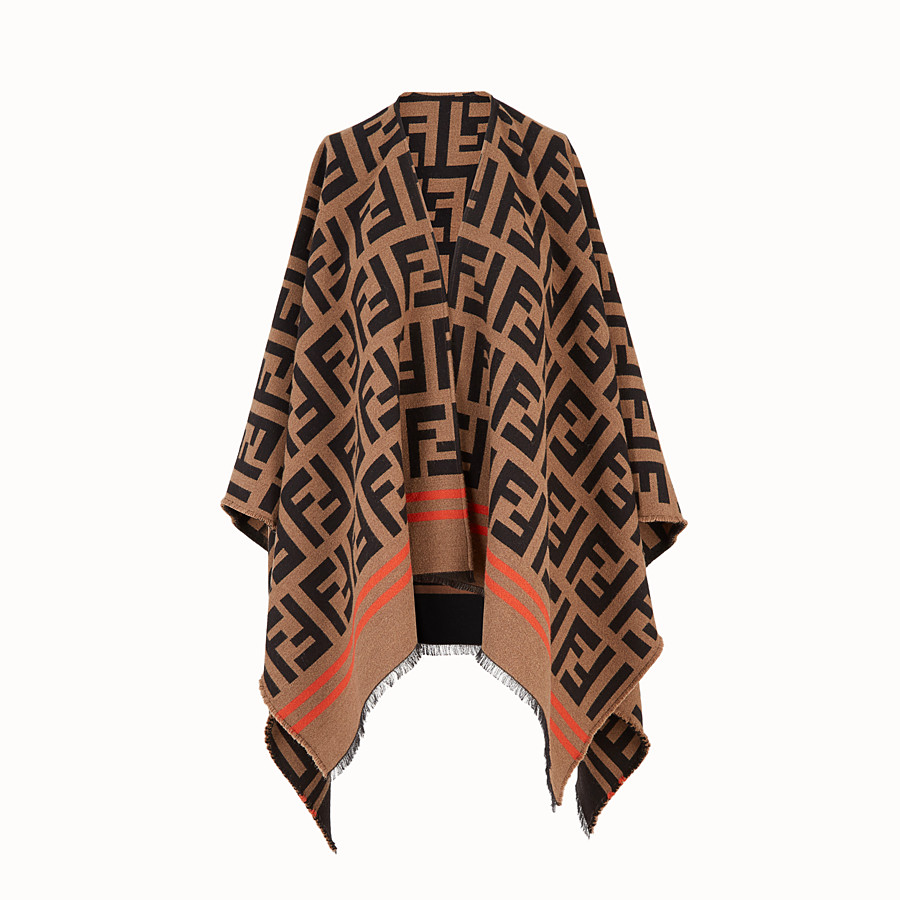 FENDI FF PONCHO - Multicolour wool and silk poncho - view 1 detail